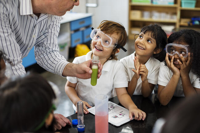 Kindergarten students learning about science.